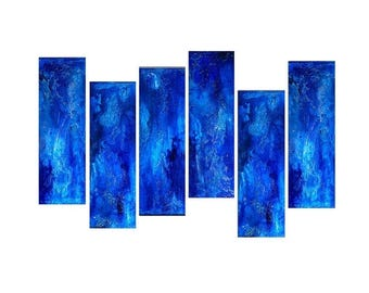 Textured Blue Abstract Painting Contemporary Blue Fine Art by Henry Parsinia Large 48x24