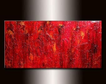 Modern Red Abstract Painting Original Contemporary Textured Art On Canvas by Henry Parsinia Large 48x24