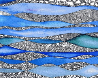 In the deep - Original Watercolour zentangle painting on paper