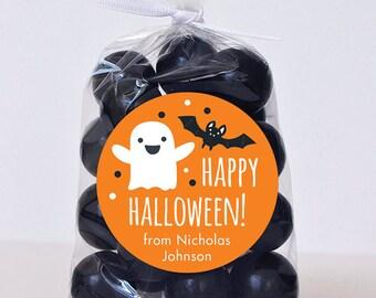Halloween Stickers - Happy Halloween Ghost & Bat (Orange) - Sheet of 12 or 24