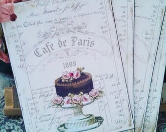 new cafe de paris french market tags set of 4