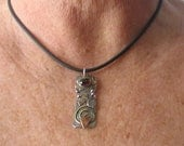 "RESERVIERT für Shea Vintage Sterling Silber Kupfer Messing Granat Anhänger aus Metall gemischt 1 3/4"" lang"