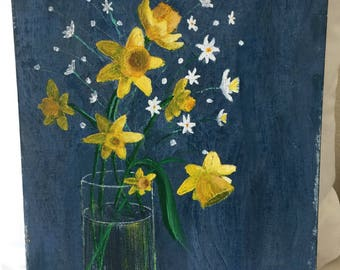 Vintage Oil Painting ~ Daffodils