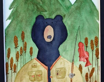 Black bear original watercolor, fisherman, bear in vest, black and green, matted art, forest, woods, pine trees, red fish, bear fishing pole