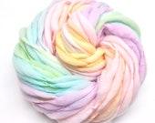 Pastel rainbow yarn, handspun self striping, thick and thin, merino wool, super bulky -54 yards, 3.4 ounces/98 grams