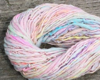 Handspun yarn spun with merino, silk, bamboo silk, sparkly gold - 85 yards, 1.35 ounces/ 38 grams