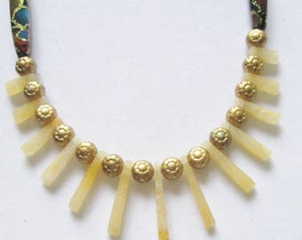 Boho Vintage Repurposed Necklace, Gold Vintage Chain Necklace, Yellow Aragonite Fan Gemstones, Vintage Beads, OOAK, Uniquely Yours Diva
