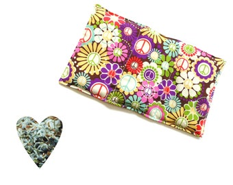 Hot cold pack, aromatherapy, microwave heat pack, peace signs, freezer cold pack, flax seed rice lavender buds, soothing, back pain relief