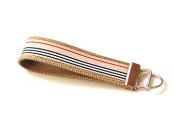 Key fob wristlet, fabric key fob, preppy stripes, key carrier, key holder, wristlet lanyard, keychain loop
