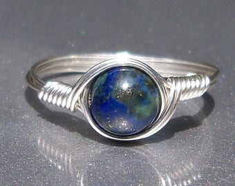 25% Off Sale Chrysocolla Azurite Ring Argentium Sterling Silver Wire Wrapped Gemstone Ring