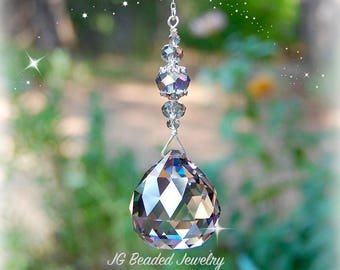 Silver Shade Prism Crystal Suncatcher, Rearview Mirror Car Charm, Window Light Catcher, Ceiling Light Pull, Fan Pull, Hanging Crystal Ball