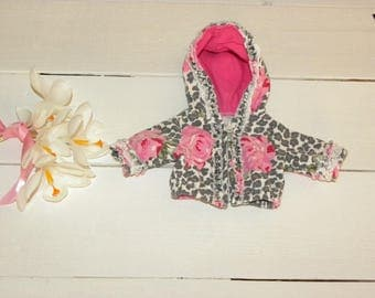 Pink and Grey Patterned Hooded Jacket - 12 inch doll clothes