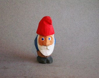 Tiny Garden Gnome wood carving