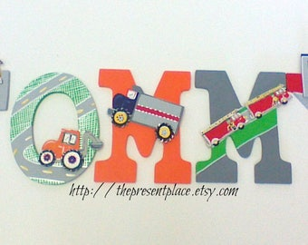 5 letters,transport theme, truck,fire truck,fire engine,cars,boys letters,boys wall art,personalized art,boys car letters,truck letters