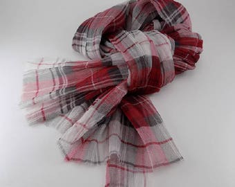 Handmade Silk Scarf --- Red and White / Plaid