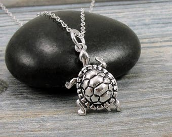 Turtle Necklace, Sterling Silver Turtle Charm on a Silver Cable Chain