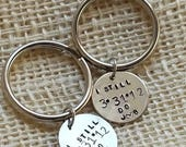 I Still Do Anniversary keychain hand stamped and customized with  wedding date and initials