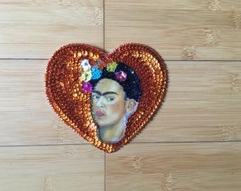 Sequin Frida Kahlo Patch Art Heart Applique