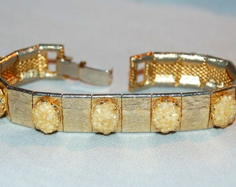Large Chunky Bracelet, Peach Gold, Vintage old jewelry