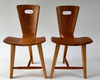Pair Tage Frid style 3-legged Chairs