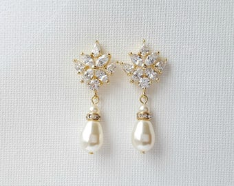 Gold Pearl Bridal Earrings Gold Wedding Earrings Pearl Drop Wedding Earrings Gold Wedding Jewelry, Astra
