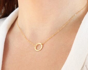 Gold Circle Necklace, Dainty Hammered Circle, Eternity Necklace, Gold Filled Open Circle Necklace, Gift for Wife