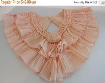 ON SALE Vintage 1930's Gathered Peach Crepe Dress Collar