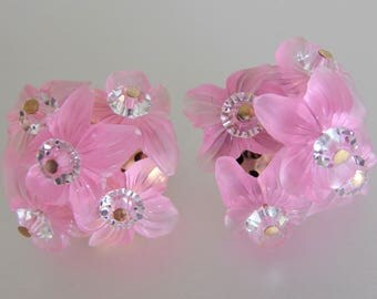 Vintage Pink Molded Lucite and Crystal Cluster Earrings