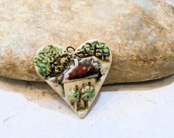 village, chateau, maison, pendentif coeur rustique, céramique artisanale, printemps, fourniture pour création bijou scrap