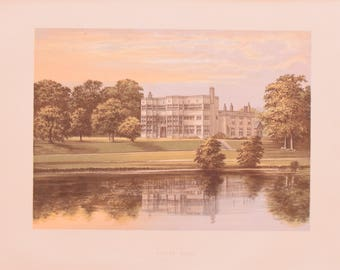Antique English Lithograph of Astley Hall Lancashire England - English Estate Country Home - Matted
