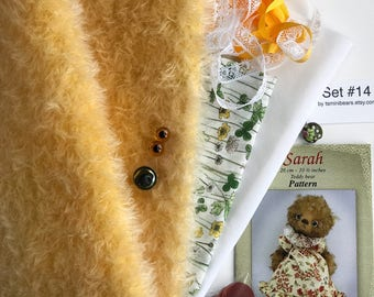 German mohair fabric, glass eyes, cotton batiste fabric liberty of london tana lawn, silk ribbon french lace, teddy bear pattern, set #14