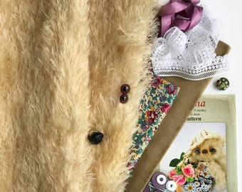 German mohair fabric, glass eyes, cotton batiste fabric liberty of london tana lawn, silk ribbon french lace, teddy bear pattern, set #21