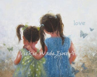 Two Sisters Art Print, two girls, loving sisters, childrens wall art, girls bedroom art, butterflies art, pigtails, sister love, Vickie Wade
