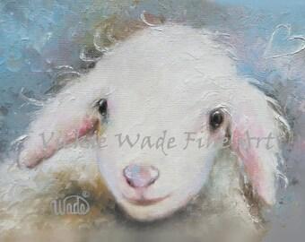 Nursery Baby Lamb Art Print, nursery decor, nursery, prints, baby boy nursery, nursery art baby animal childrens wall art, Vickie Wade Art