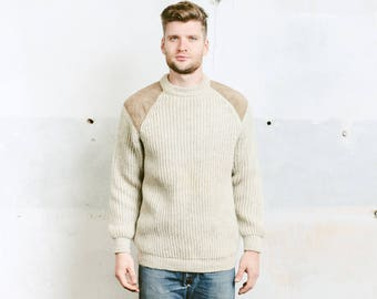 Men Fishermen Sweater . Chunky Knit Beige Sweater Knit Pullover Vintage 70s Thick Winter Sweater . size Large