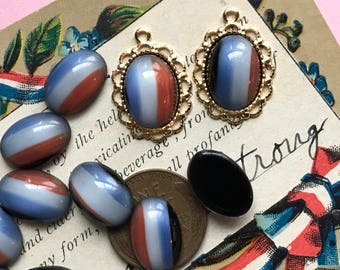 Vintage Glass Cabochons, Oval 14/10mm, Western Germany, Red White Blue Cabochons, Mid Century, Minimalist, Patriotic #B120