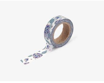 Hydrangea printed Korean washi tape  for scrapbooking, decorations (15mm x 10m)