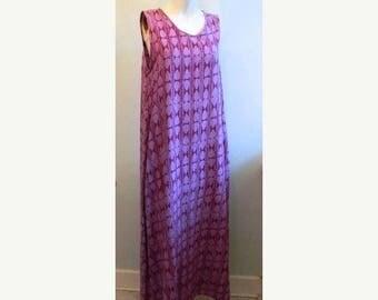 SUMMER SALE vintage.  Purple IKAT Print Dress  / Hippie Bohemian / Maxi Dress // M to Xl