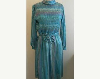 SALE vintage. 70s Turquoise Striped Sheer Dress //M to L