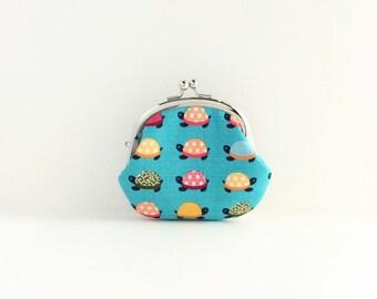 Turtle on Aqua Coin Purse - Change Purse - Mini Pouch - Womens Purse - Coin Pouch - Jewelry Purse - Purse Accessories - Gift for Her