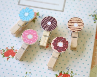 Cute Donut Wood Pegs Photo Clips
