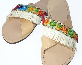 Sandals, Boho Sandals, Leather Sandals, Multicolour Lace, Leatherette Fringe, Cross Straps, Handmade Shoes, Strap Sandals, Greek Sandals