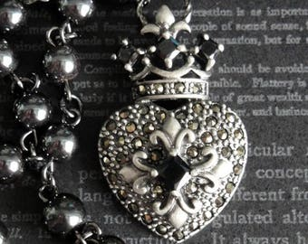NEW! FLEUR de LIS Crowned Marcasite Heart Renaissance Assemblage Necklace. Black Onyx Accents. Sterling Silver. Hematite Rosary Chain