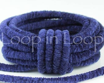 25%OFF Royal Blue Velvet Round Lush Cord rope tube 3.5mm thick Velvet Choker Tubing Semisoft Fabric Cord polyester core (sold by the foot)