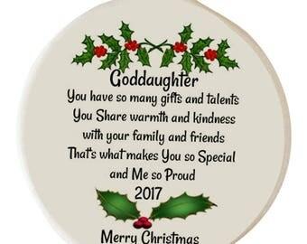 Goddaughter 2017 Special Bond Porcelain Christmas Ornament Gift Boxed Rhinestone Love Support Family