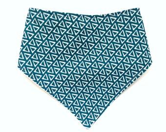 Modern Baby Bib - Bandana Style Bib - Bibdana - Baby Boy Gift - Teal Triangles - Blue Turquoise - Tribal Style