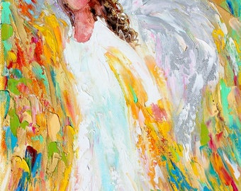 Angel of Enlightenment painting original oil abstract impressionism fine art impasto on canvas by Karen Tarlton