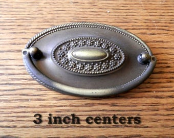 antique solid brass oval drawer pulls 3 inch centers