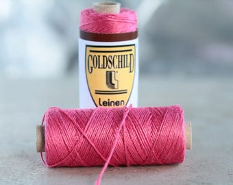 Old Rose Goldschild linen thread, 3-ply, Nel 18/3, 0.65mm thick, non-waxed, 1 spool 25g 90m