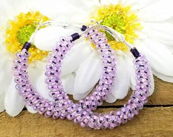 Pastel Hoop Earrings -  Colorful Earrings -  ChristalDreamz - Beaded Hoop Earrings - Purple Bead Hoops - Boho Hippie Earrings - Hoops